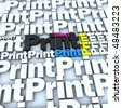 3D rendering of the word print in white and different colors, ideal for backgrounds - stock photo