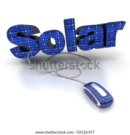 3D rendering of the word solar with solar-panel texture connected to a computer mouse - stock photo