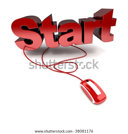 3D rendering of the word start in red connected to a computer mouse