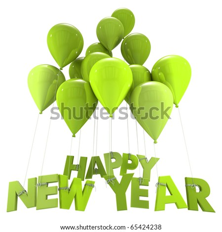3D rendering of the words Happy New Year hanging form flying balloon strings in green shades New Year, congratulations, party, celebration, greetings, greetings card,  balloon, - stock photo