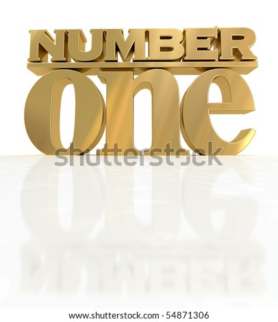 3D rendering of the words number one in gold - stock photo