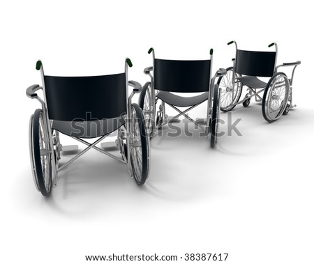 3D rendering of three black wheelchairs on a white background