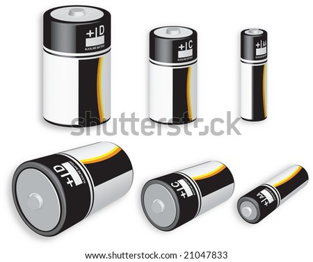 3D rendering of three different battery sizes isolated on white background - stock photo