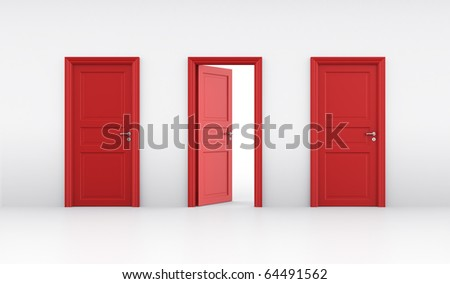 3d rendering of three doors, one open and two closed - stock photo