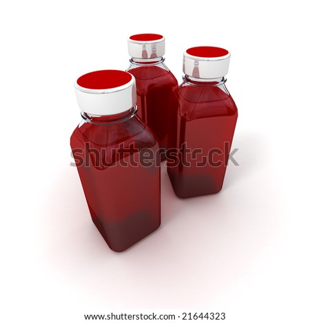 3D rendering of three little bottles with a blood red liquid