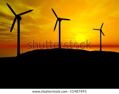 3D rendering of three wind turbines at sunset