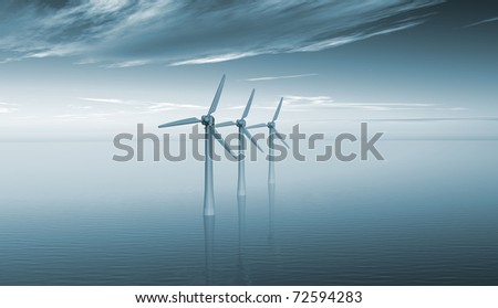 3D rendering of three wind turbines ocean and blue sky