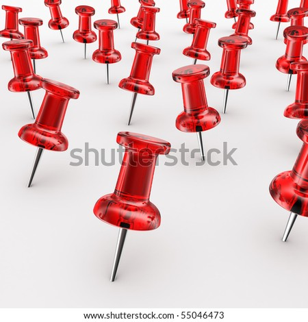 3d rendering of thumbtacks - stock photo