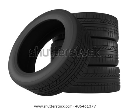 3d rendering of tires isolated on white background - stock photo