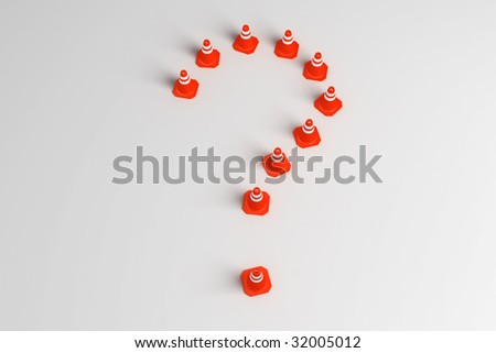 3d rendering of traffic cones shaped as a question mark
