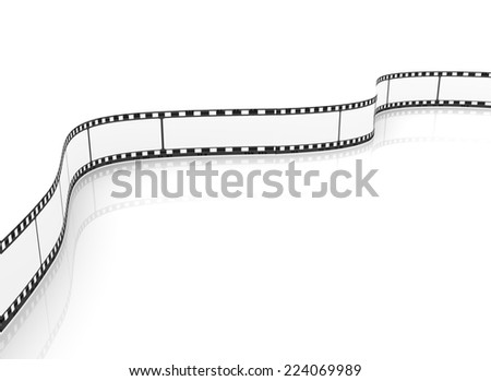 3d rendering of transparent empty blank movie film reel on reflective background - stock photo