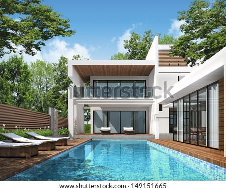 3D rendering of tropical house exterior  - stock photo
