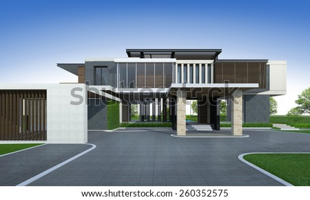 3D rendering of tropical house exterior.