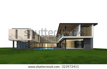 3D rendering of tropical house exterior isolated on white background with clipping path.