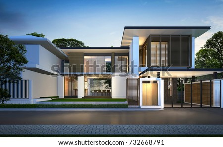 3 D Rendering Tropical House Exterior Night Perspective Stock ...