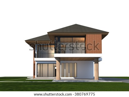 3D rendering of tropical house with clipping path.