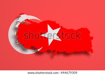 3d rendering of Turkey map and flag on background.