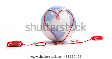 3D rendering of two computer mice with a heart shaped cable on a world map