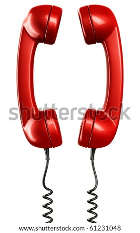 3d rendering of two phone handsets, illustrating communication - stock photo