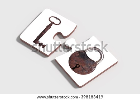 3d rendering of Two three-dimensional pieces of puzzle with rusty padlock and key on grey background. From above. Isolated. - stock photo
