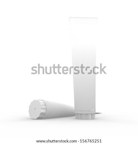 3d rendering of two tubes for toothpaste or healthcare products on a an isolated background