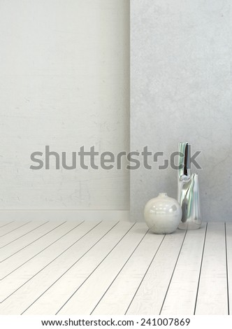 3D Rendering of Two vases in a clean white rustic room interior with painted white wooden floorboards and wall, close up vertical view with copyspace for decor placement or text - stock photo