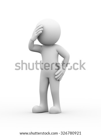 3d rendering of upset sad frustrated depressed man with headache. 3d white people man character. - stock photo