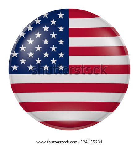 3d rendering of USA flag on a button