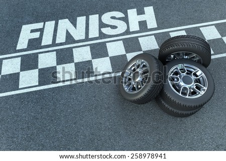 3D rendering of wheels by a motor race circuit finish line - stock photo