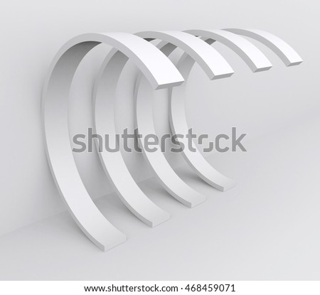 3d Rendering of White Arch Construction. Abstract Architecture Background