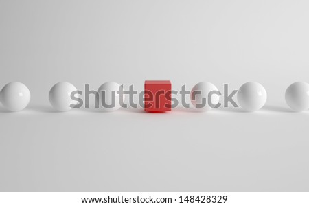 3d rendering of white balls with one red cube - stock photo