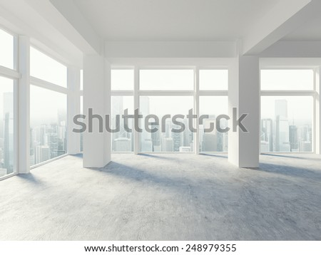 3D rendering of white blank interior - stock photo