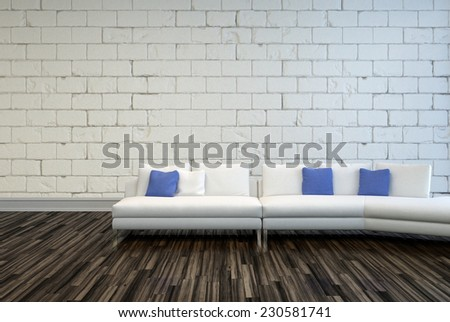 3D Rendering of White Couch with White and Blue Pillows on an Architectural Living Room with Seamless Concrete Wall and Wooden Flooring Design - stock photo