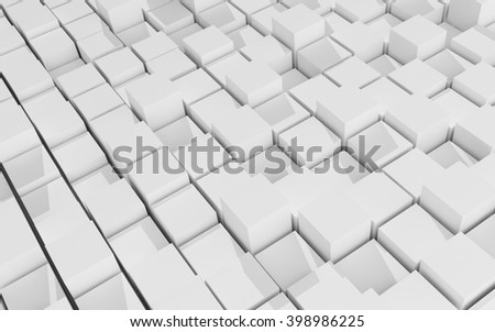 3d rendering of white cubic random level background.