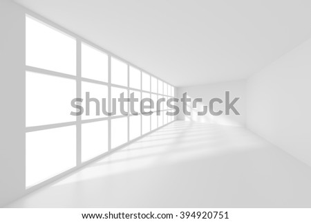 3d Rendering of White Empty Room. Modern Interior Background - stock photo