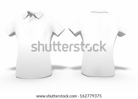 3d rendering of white man polo, isolated on white background for use as a template