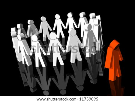 3d rendering of white men excluding a red man - stock photo