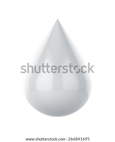 3d rendering of white paint drop isolated on white background - stock photo