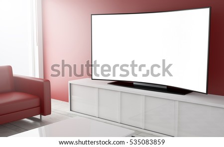3d rendering of white screen curved smart television on a living room
