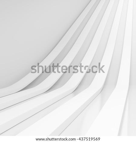 3d Rendering of White Stripe Background. Modern Minimal Architecture Design - stock photo