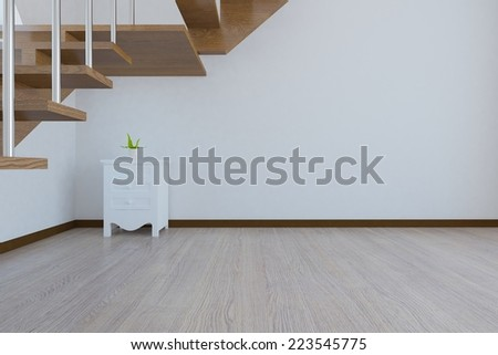 3D Rendering of' wihte room with stairs