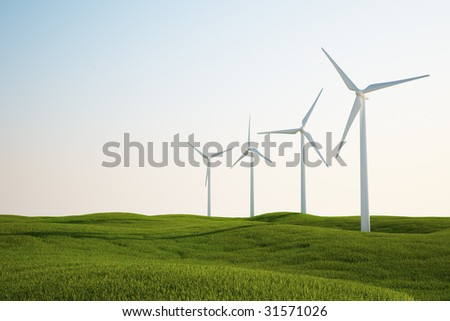 3d rendering of wind turbines on a green grass field - stock photo