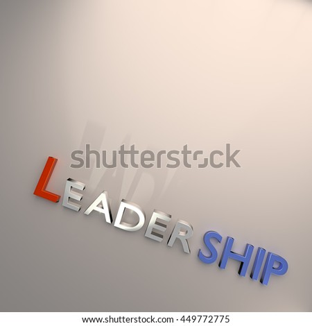 3D rendering of Word LEADERSHIP  Isolated on gray background