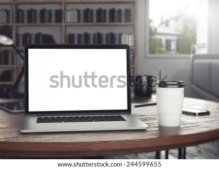 3d rendering of workspace - stock photo