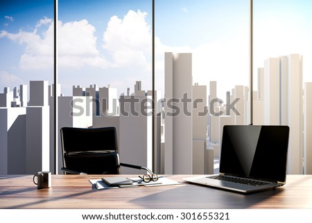 3D rendering - office workplace with city skyline in the background - stock photo