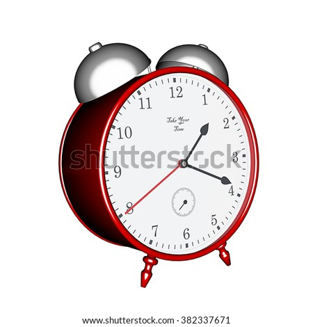 3D rendering, old fashioned red table clock with alarm - stock photo