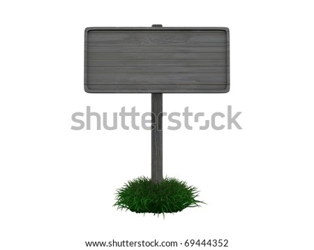 3d rendering, old-fashioned road sign, isolated on white background.