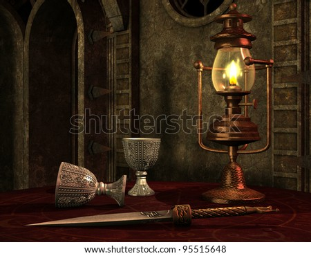 3D Rendering old oil lamp on a table - stock photo