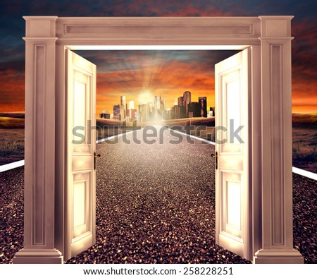 3d rendering, opened door on empty road towards a distant city. Conceptual new way, entrance to new world, heaven, life, hope. - stock photo