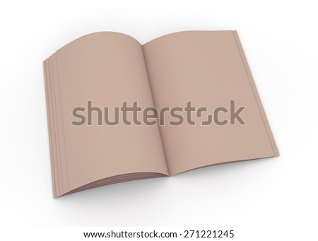 3D Rendering Original Brown Opened Mock up catalog or magazine isolated with Work Paths, Clipping Paths Included.  - stock photo
